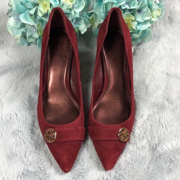 2889f7e1f96f Coach Shoes - Velvet Oxblood Kitten Heels w  gold Coach hardware